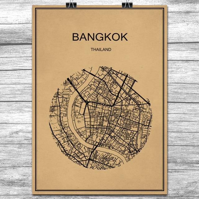 Bangkok Round World City Map Vintage Retro Poster Krafts Paper Wall ...