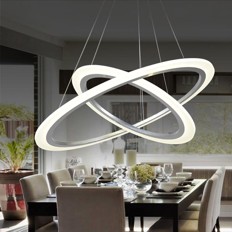 Modern 2 Ring 12W Led Pendant Light Kitchen Living Room Dining Adjustable Hanging Acrylic Rope