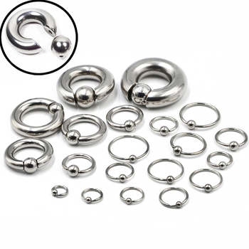 1 Piece Big Stainless Steel Captive Hoop Rings BCR Eyebrow Tragus Ear Piercing Nose Closure Nipple Bar Lips Large Body Jewelry