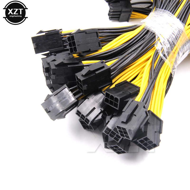 Venda quente 6-pin pci express para 2 x pcie 8 (6 + 2) pino placa de vídeo gráfica pci-e gpu vga splitter hub cabo de alimentação