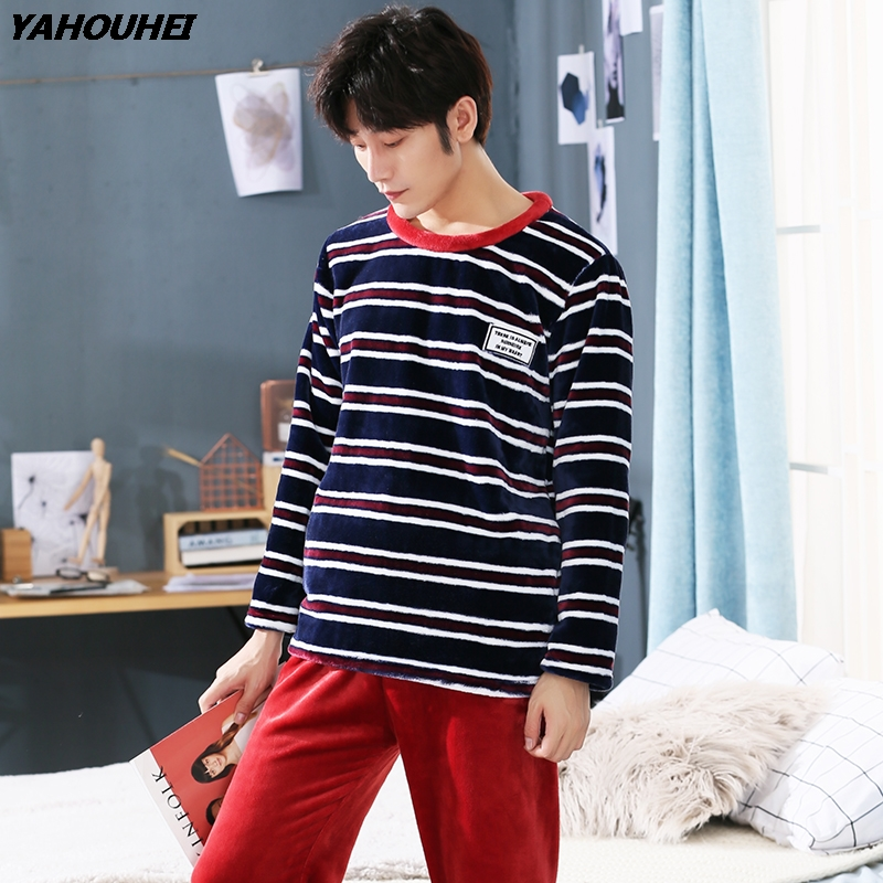 Plus Size Thick Warm Flannel Pajamas Sets Men 2019 Winter Long Sleeve Coral Velvet Pyjama Casual Striped Homewear Lounge Clothes