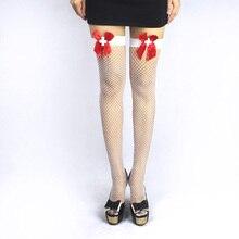 2017 Hot Selling Women's Knee Socks Sexy Fishnet Thigh High Stockings Super Elastic Hollow Mesh Socks Shiny High Stocking Bow