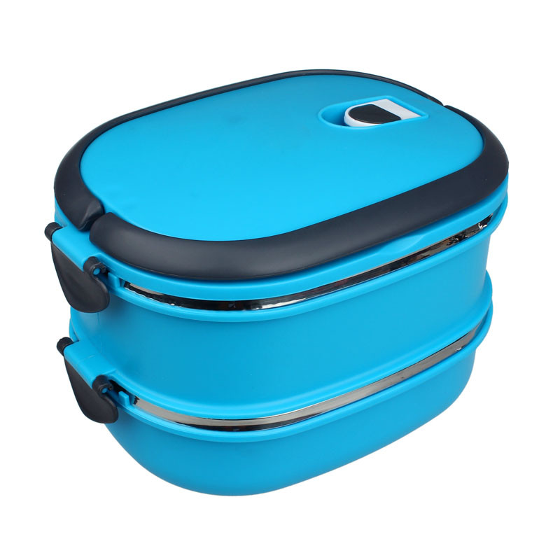 Multilayer Stainless Steel Insulation Lunch Bento Box Food Container Square stainless steel double lunch box blue