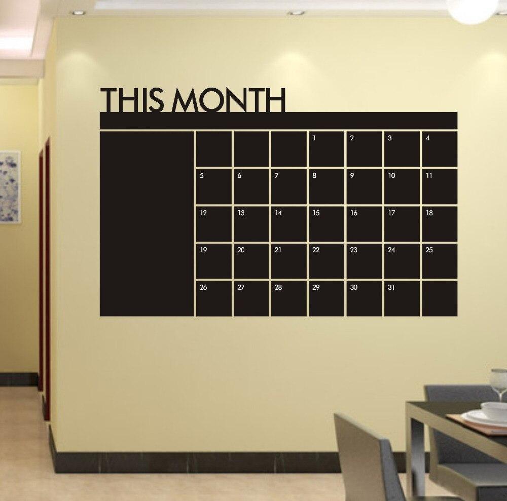Diy Monthly chalkboard calendar Vinyl Wall Decal Removable Planner ...