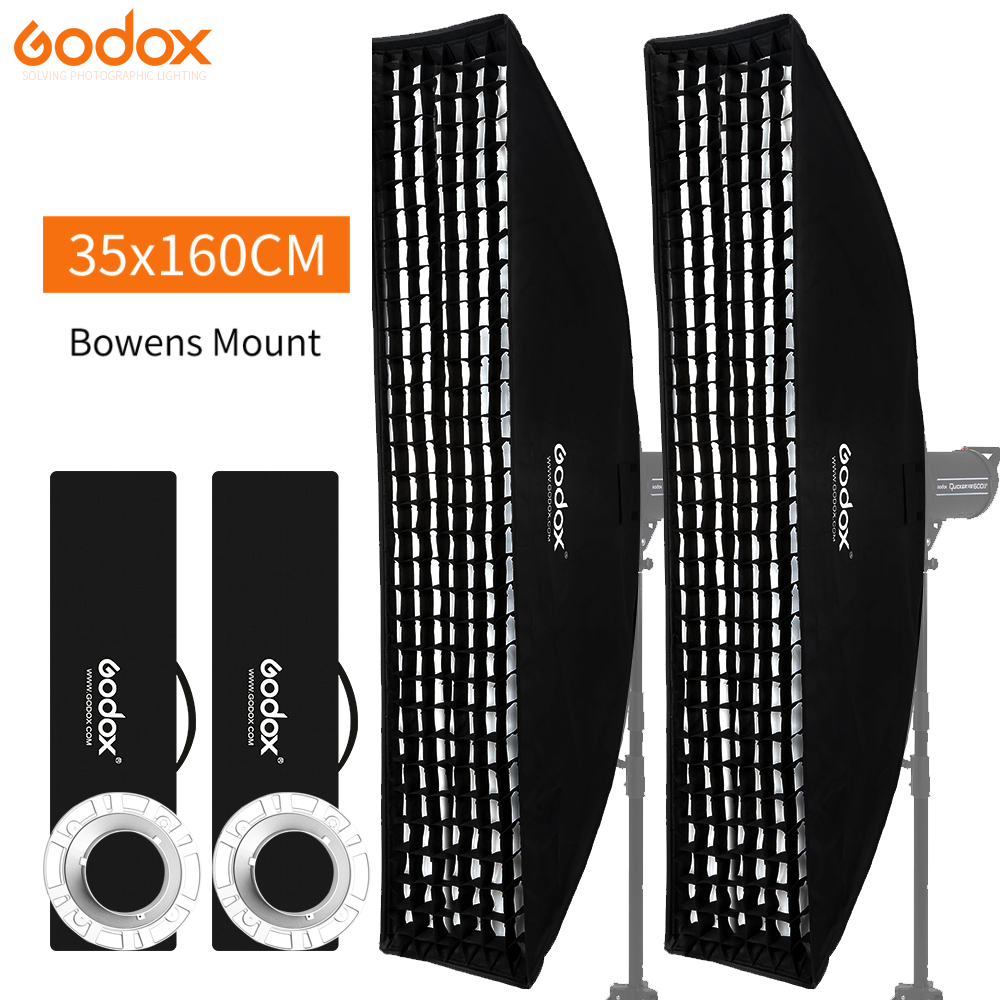 "Godox 2PCS 14""x 63"" 35x160cm Softbox Bowens Mount Strip Beehive Honeycomb Grid Soft Box For Photo Strobe Studio Flash Light"