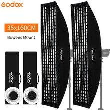 """Godox caja de luz Bowens, 2 uds., 14 """"x 63"""", 35x160cm, tira de montaje, panal de abeja, caja suave para luz estroboscópica de estudio fotográfico"""