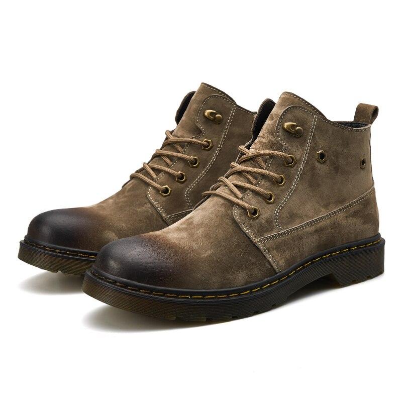 4 Plein Haute khaki gray Moto Confortable Bottes De Hommes Chaussures Mode Black Casual Air Hiver Vache Cuir En Neige Qualité aqWzC