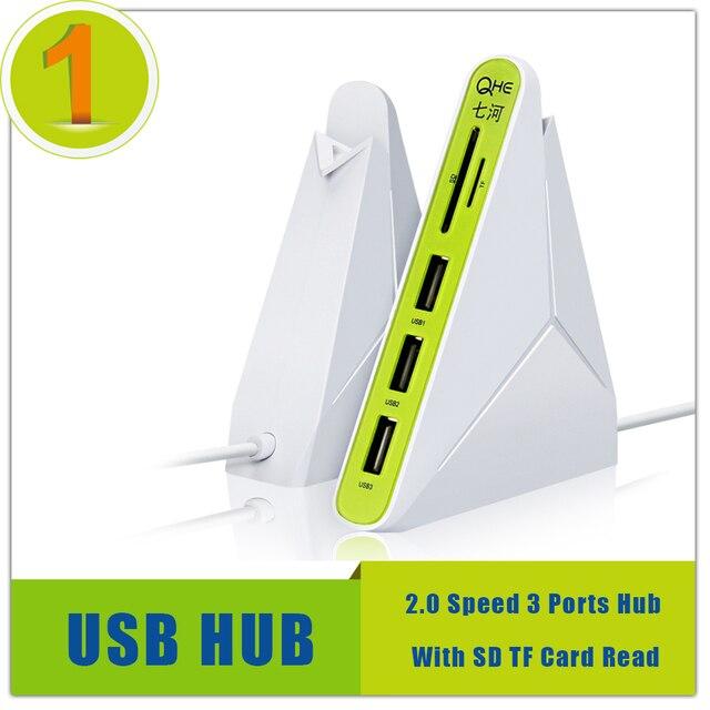 Все В Одном USB COMBO 3 порта usb 2.0 хаб КОНЦЕНТРАТОР + USB multi card reader для SD/TF, Рабочий Стол ноутбука Компьютерные Аксессуары Оптовые