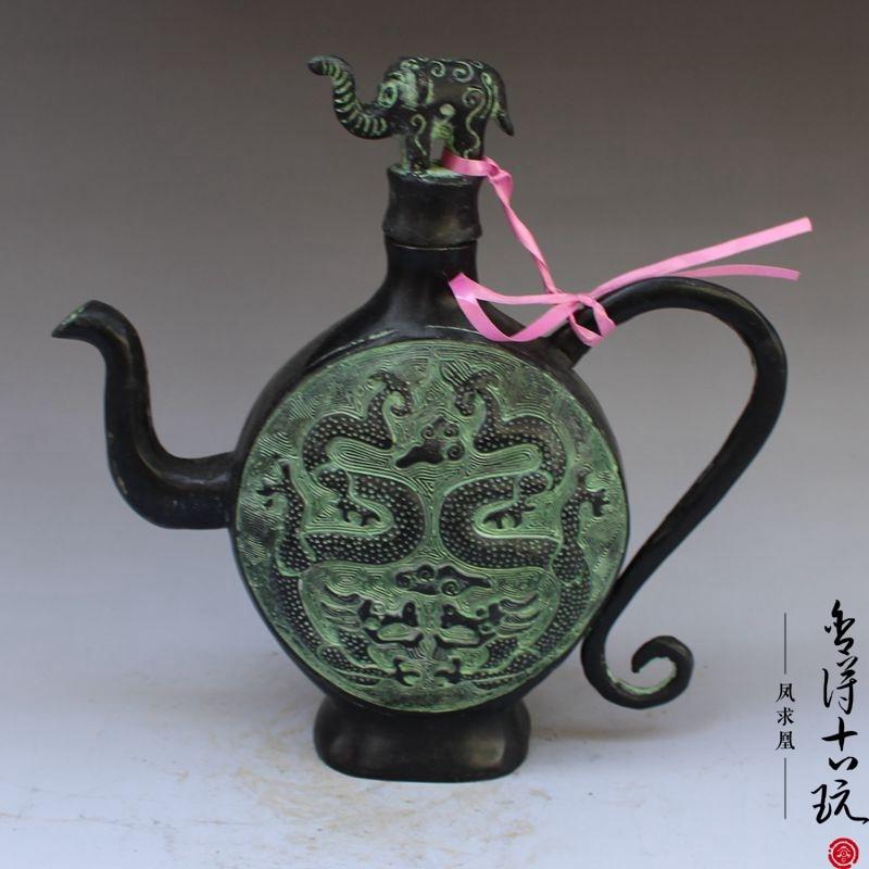 Chine anciennes Collections de bronze de la campagne Double dragon vin pot