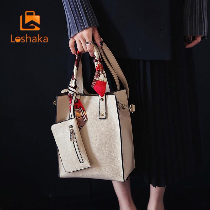 Loshaka 솔리드 여성 토트 백 합성 가방의 리본 지퍼 미니 여성 지갑 새로운 브랜드 디자인 Crossbody Bags 2017 New Arrival