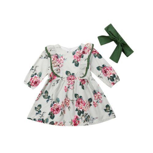 2019 קיץ יילוד תינוקות תינוקת פרחוני ארוך שרוול המפלגה שמלת תחרות נשף טוטו שמלה חמודה נסיכת ילדה בגדים 12 m-5 T