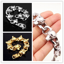 8.86″ *20mm Fashion Silver /  Gold Punk Bangles High Quality Cool Stainless Steel Wolf Heads Bracelet Mens Pulseras Jewelry