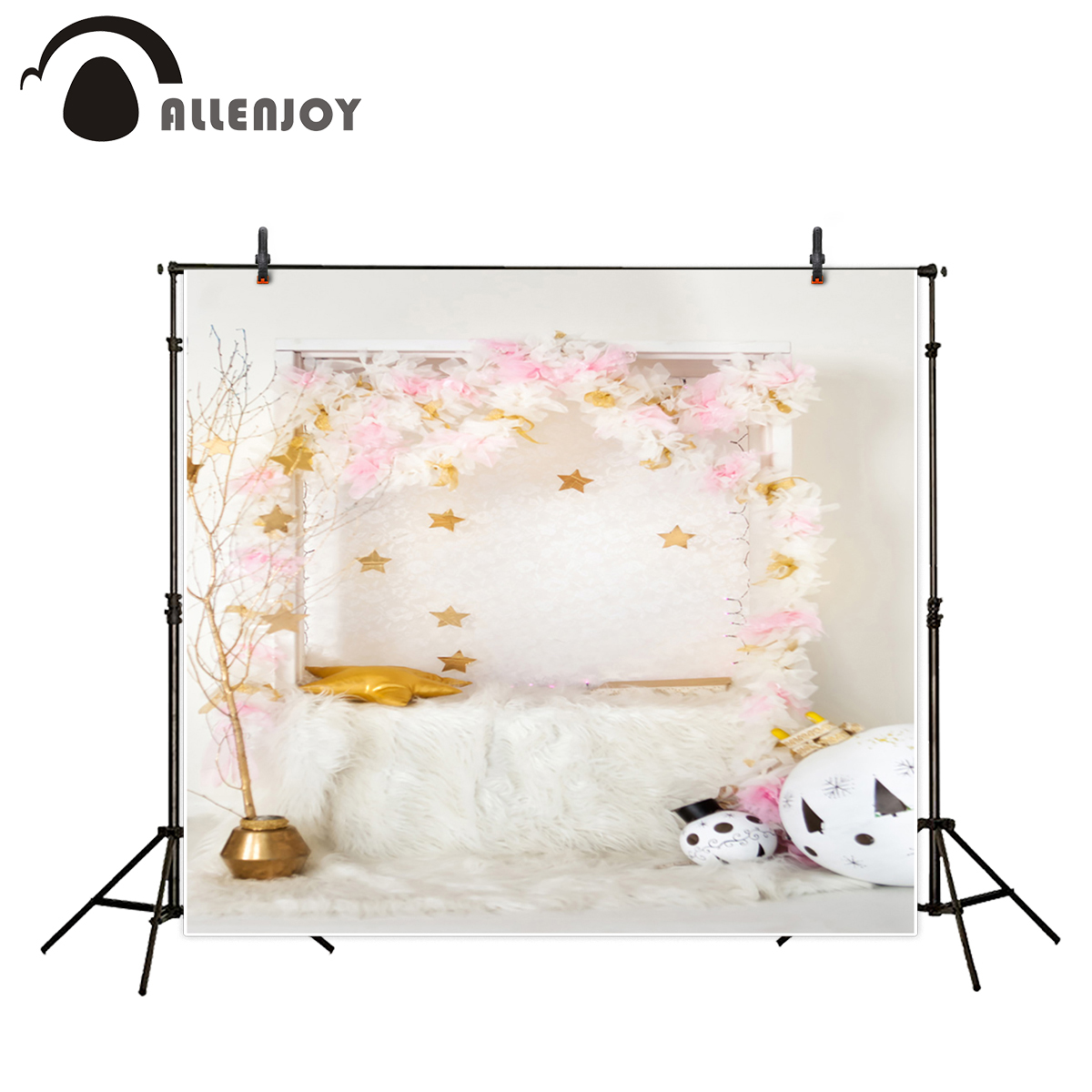 Allenjoy photography backdrops Children background gold stars white blanket flowers indoor photography photo backdrops newborn