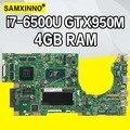 K501UW K501UX placa base de Computadora Portátil para ASUS K501UB K501UW K501UQ K501UXM Placa base con DDR3 4 GB RAM i7-6500U GTX950M gráficos