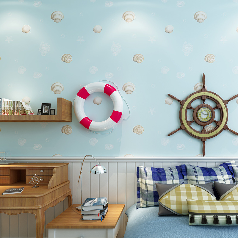 Blue kids wall paper for walls Lovely Cartoon Shell Non-woven Wallpaper Roll Modern wallpapers for Bedroom Girls wallpapers beibehang friendly lovely cartoon cars wallpapers roll kids room decoration wall paper roll non woven boys bedroom wallpaper