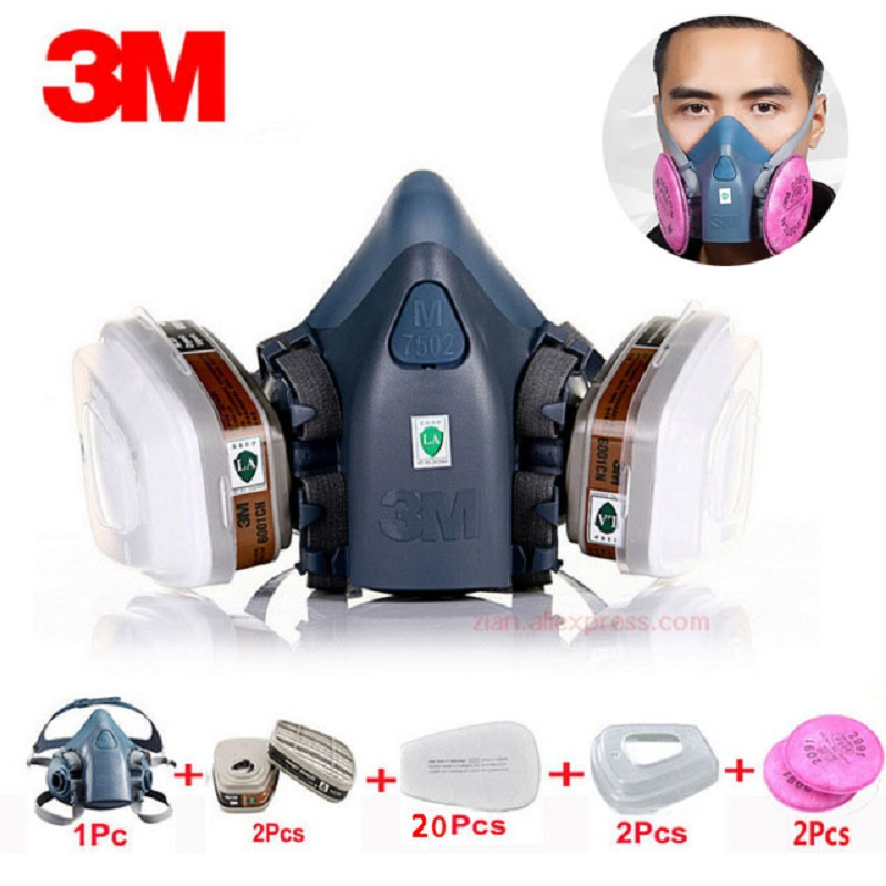 3M 7502 N95 industrial mask 27 in 1 suit with 6001/2091/5N11 organic gas protective respirator for painting spray chemical mask3M 7502 N95 industrial mask 27 in 1 suit with 6001/2091/5N11 organic gas protective respirator for painting spray chemical mask