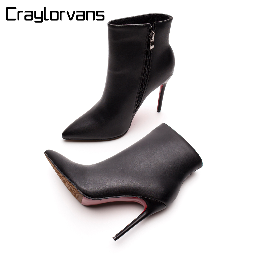 Red Bottom High Heel Boots Women Autumn Winter Fashion Ankle Boots 2018 Black Matte Pointed Toe Women Shoes Sexy Zipper Bottes цена