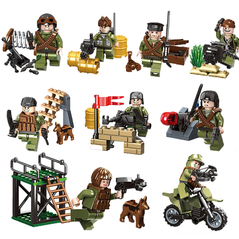Chinese Military Army Soldiers Building Blocks Sets With Weapons And Guns LEGOINGLYS WW2 Figures Motorcycle Brick