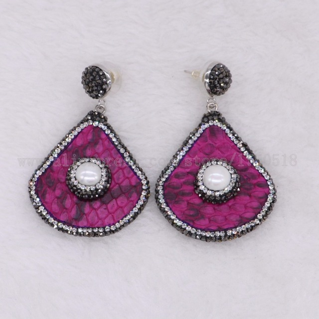 5 Pairs Fashion Hot Pink Snakeskin Earrings Drop Pave Pearls Rhinestone Dangle Gems Stone