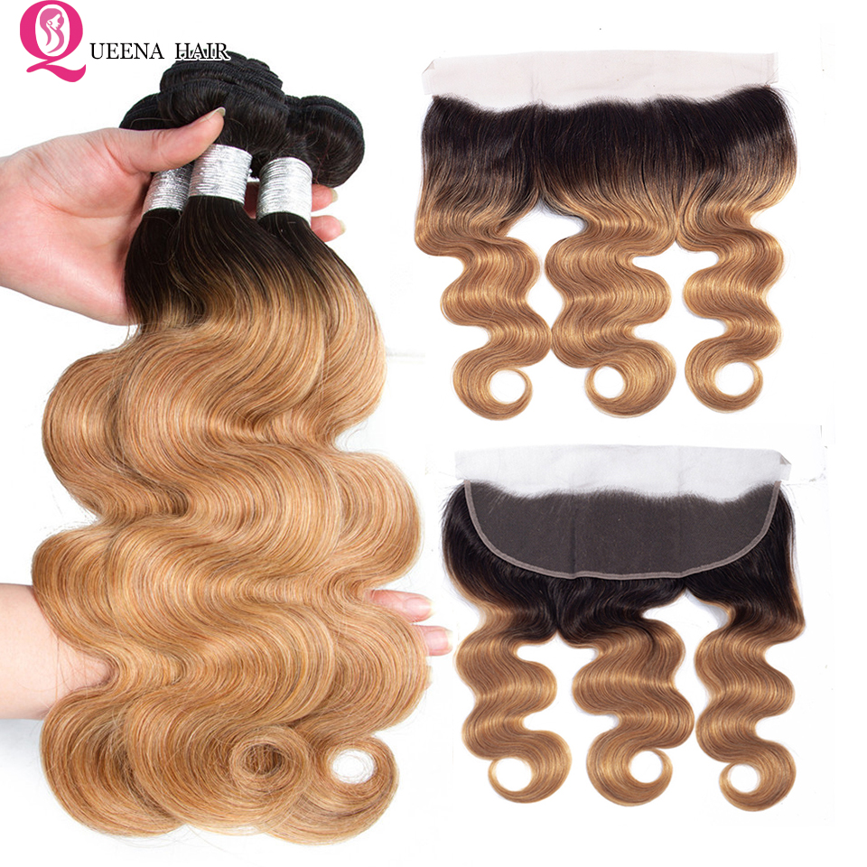 Ombre Body Wave Hair Bundles With Frontal Closure 1B 27 Honey Blonde Peruvian Hair Bundles With Closure Ear To Ear Lace Hair