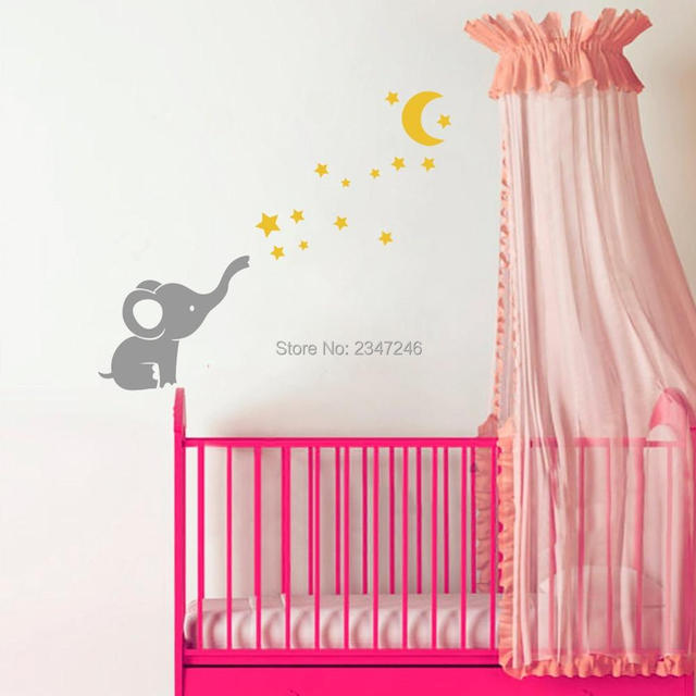 Cute Little Elephant Cartoon Art Mural Decals Moon Stars Vinyl Wall Stickers  For Baby Room Decor Part 87