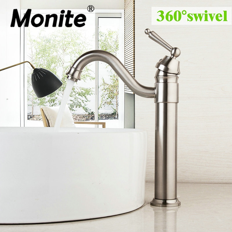 360 Swivel Basin Sink Bathroom Faucets Rotated Basin Nickel Brushed Tap Vessel Vanity Lavatory Faucets Mixers & Taps