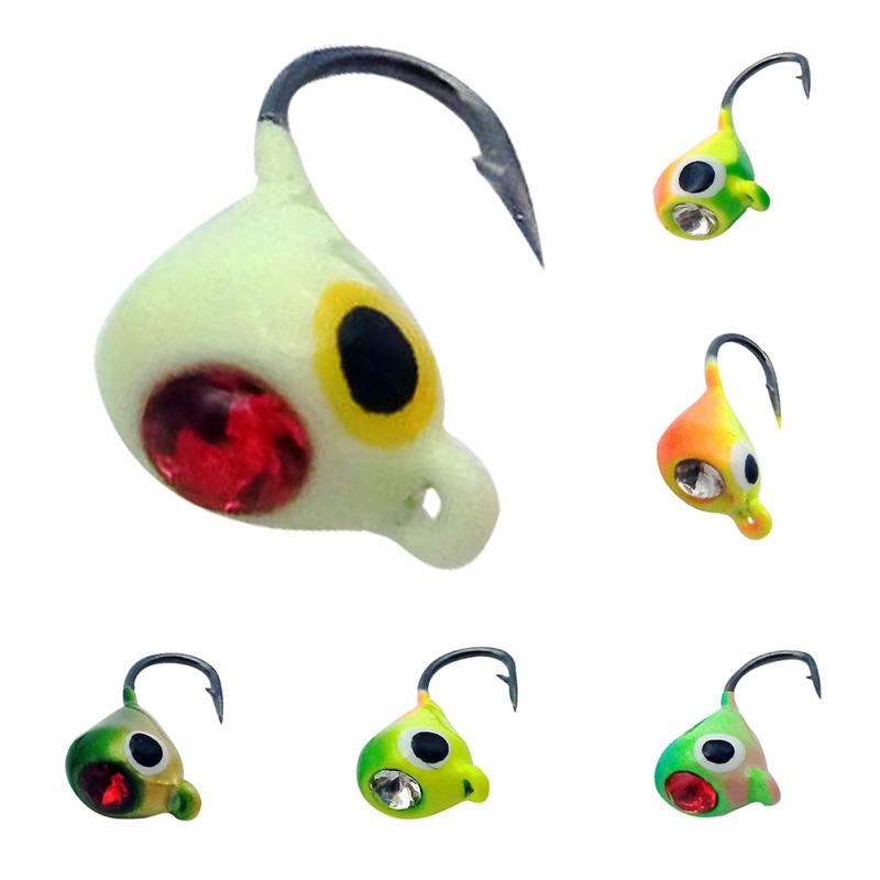 New 6pcs/lot Winter Ice Fishing Lure 1.8cm 2.3g Mini Metal Lead Head Hook Bait Jigging Fishing Tackle bait fishing accessories