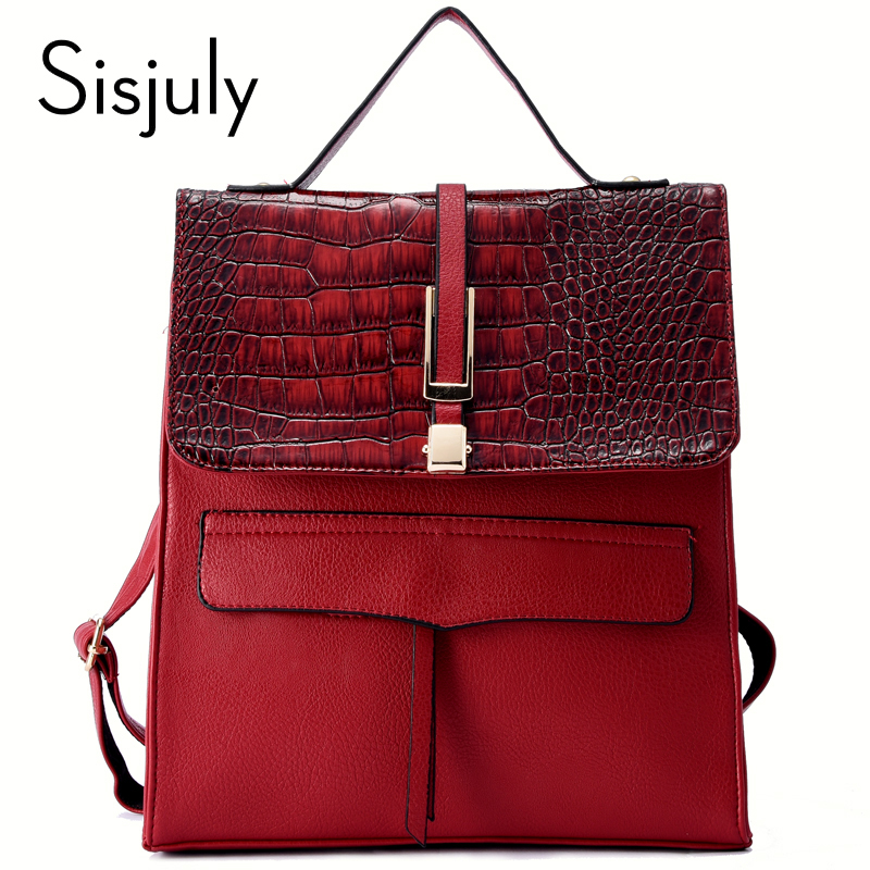 2018 Sisjuly Crocodile Leather Backpack Women Bag Female Travel SchoolBags Small Backpacks for Teenager Girls Sac a Dos School sisjuly black 11