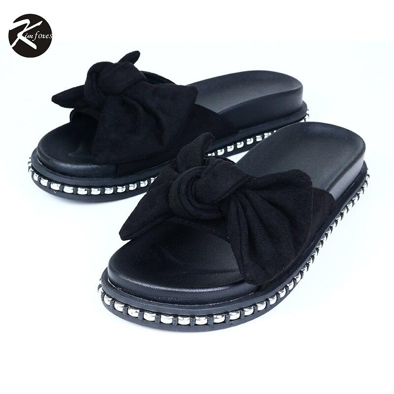 2017 Women s Shoes Ladies Slippers Butterfly Tie Comfortable Flip Flops Open Toe Women Slippers Kimfoxes