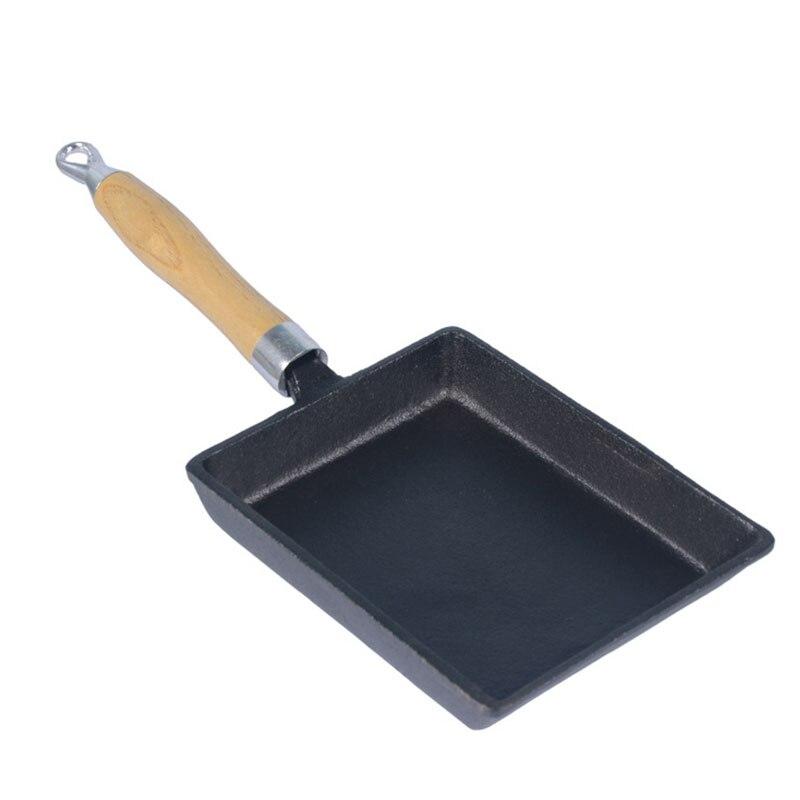 Duolvqi Japonais Fonte Omelette Pan Non-bâton Poêle Poêle À Frire Oeuf Pan Pancake Pot Ustensiles de Cuisine 13x18 cm