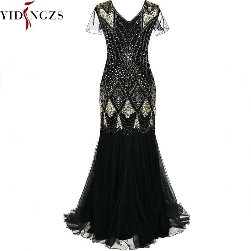 Plus Size Vestido de Noite Preto de Lantejoulas de Ouro Frisado Formal Longo Evening Party Dress Robe De Soiree 2019