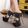 2017 Mujeres de La Manera zapatos de Tacón Sexy Tacones Altos Peep Toe Sandalias de Plataforma de Zapatos de Mujer Sandalias de Tacón Alto de Baile Discoteca