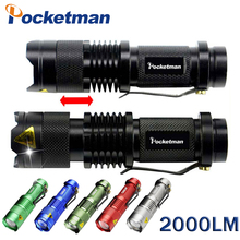 LED Tactical Mini LED Flashlight CREE Q5 2000LM Powerful Flashlight LED Laterna 3Modes Zoomable Portable 6Colors Torch zk50
