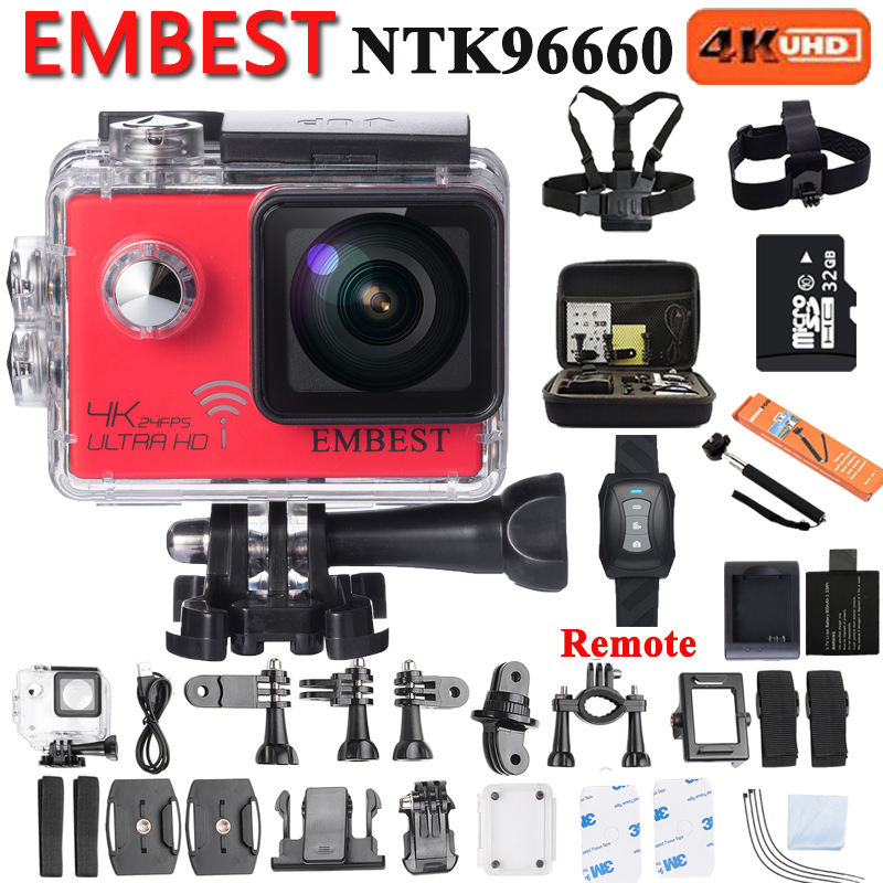 EMBEST 4K Wifi Action Camera With Night Vision Gyro Ultra HD 4K / 24fps 1080p@60fps 2.0inch 170D Waterproof DVR NTK96660