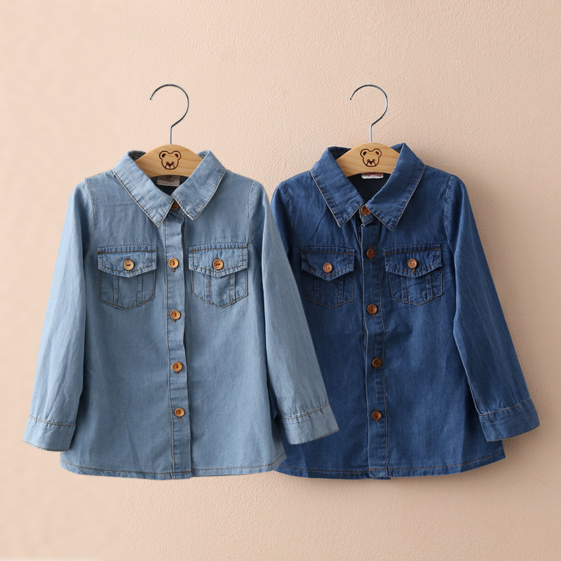 2016 Autumn Children'S Clothing  Baby Gilrs Turn Over Collar  Front Pocket Long-Sleevedenim Shirt Solid Color Free Shipping