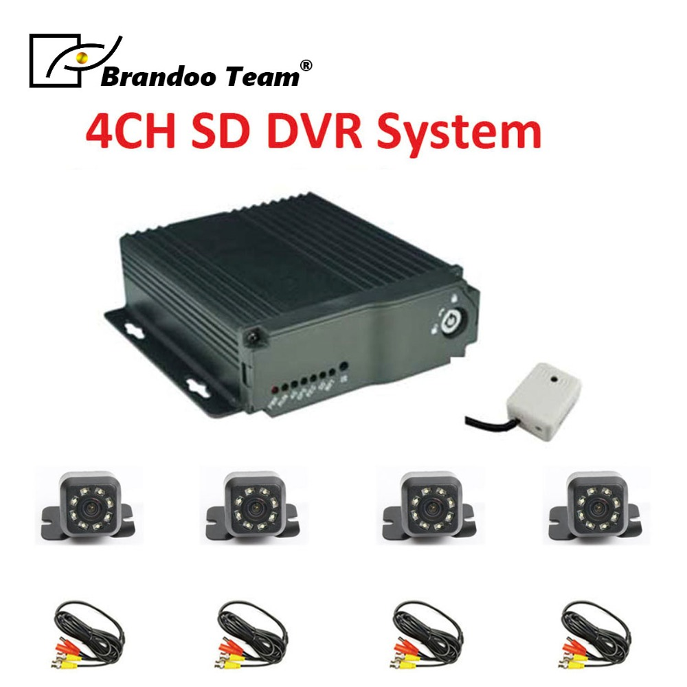 video surveillance bus DVR 4 channel Car dvr kit with 4pcs mini IR car camera for