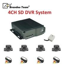 Видеонаблюдение Автобус DVR, 4 канал; Автомобильный видеорегистратор комплект с 4 шт. мини-инфракрасная камера для автомобиля, такси использования.