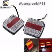 Eonstime 2pcs DC 12V 14+2 LED Truck Car Trailer Boat Caravan Rear Tail Light Stop Lamp Taillight Waterproof IP68