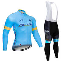 2019 azul equipo ASTANA Invierno Polar térmico Ciclismo JERSEY pantalones conjunto para hombre Ropa Ciclismo 12D Ciclismo Maillot Culotte wear
