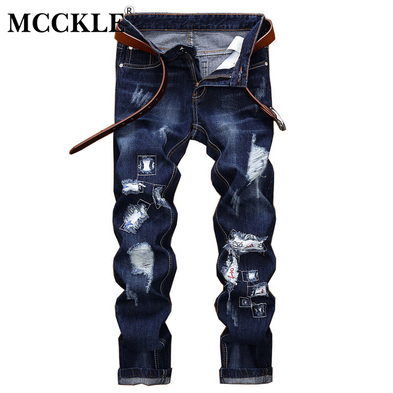 MCCKLE Hole Patchwork Ripped Jeans for men Pants Slim Fit Skinny Denim Jeans Hip Hop Streetwear Summer Distressed Jean Trousers women pants jeans destroyed ripped distressed hole woman skinny slim trousers blue high waist slim denim pants boyfriend jeans