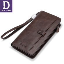DIDE Casual Phone Bag Clutch Purse Wallet Genuine Leather Wallets For Men Card Holder Coin Purse Zipper Male Long Wallets