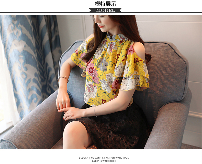 HTB1dZLcainrK1RjSsziq6xptpXaS - fashion woman blouses print chiffon women blouse shirt off shoulder tops summer tops womens tops and blouses blusas 0175 60