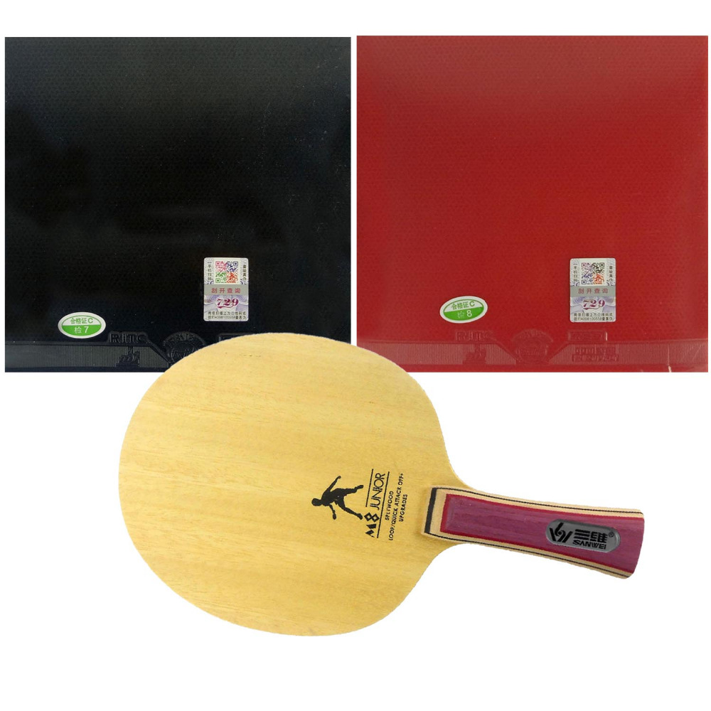Sanwei M8 M 8 M-8 Blade With 2x 729 General Table Tennis Rubber Assembled one Tennis Table Racket shakehand long handle FL sanwei m8 new version table tennis blade 5 ply wood with bag for training