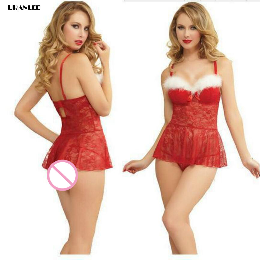 Hot Sex  Babydoll Costumes Set Lace Dress Christmas Lingerie Sexy Serving Role Playing Santa Suit Womens Sexy Lingerie Uniform