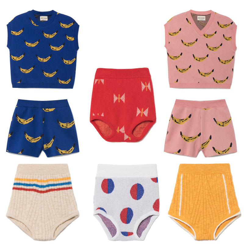 Kids Clothing Sets Bobo Choses 2018 Spring Summer Knitting Banana Pattern Vest Baby Girls Shorts Children Boys Clothes Tracksuit 2017 new pattern small children s garment baby twinset summer motion leisure time digital vest shorts basketball suit