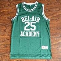 MM MASMIG Banques Carlton #25 Bel-Air Académie de Basket-Ball Jersey Piqué Vert S M L XL XXL XXXL