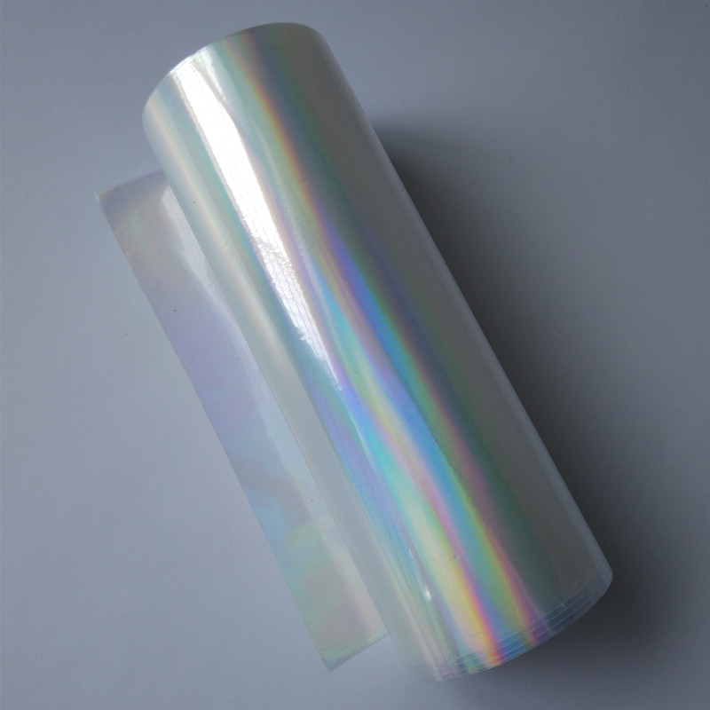 Holographic foil hot stamping foil press on paper or plastic transparent plain rainbows 16cm x 120m or 21cm x 120m hot foil