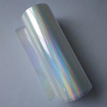 Holographische folie heißprägefolie drücken auf papier oder kunststoff transparent plain rainbows heißer folie