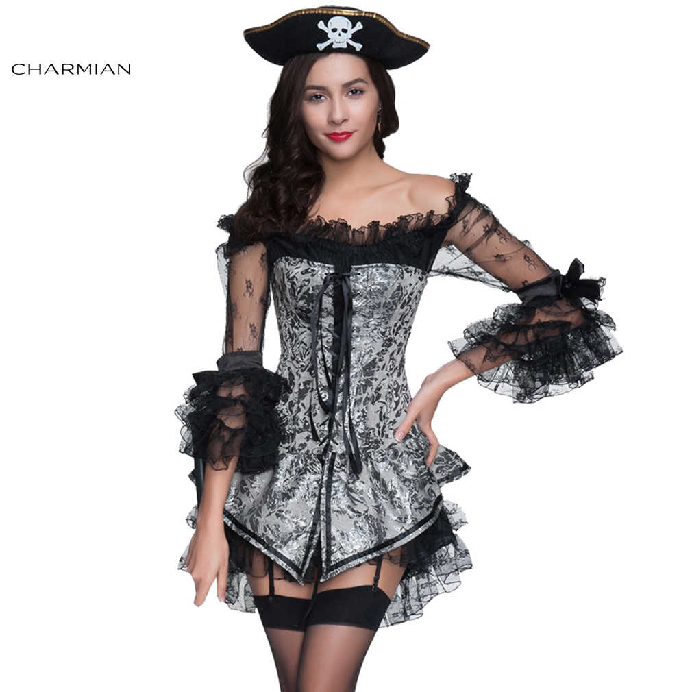 0199a9bd34 Charmian Women s Sexy Steampunk Gothic Retro Corset Dress Boned Corsets  Bustiers and Black Off Shoulder Lace