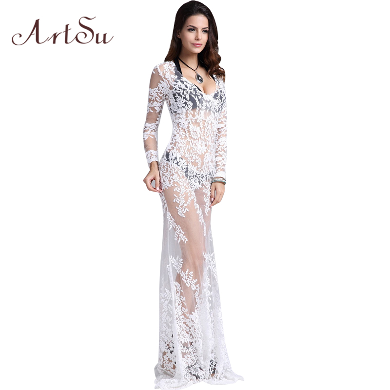ArtSu Free Shipping Floor Length Mesh Transparent Mermaid Women White Lace Sexy Party Club Dress DR5366